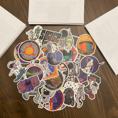 letters and stickers